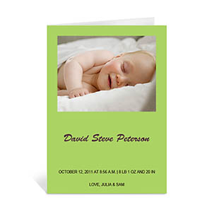 Personalized Lime Baby Shower Photo Cards, 5X7 Portrait Folded