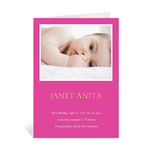 Personalized Hot Pink Baby Shower Photo Cards, 5X7 Portrait Folded
