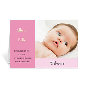 Personalized Baby Pink Baby Shower Photo Cards, 5X7 Folded Modern