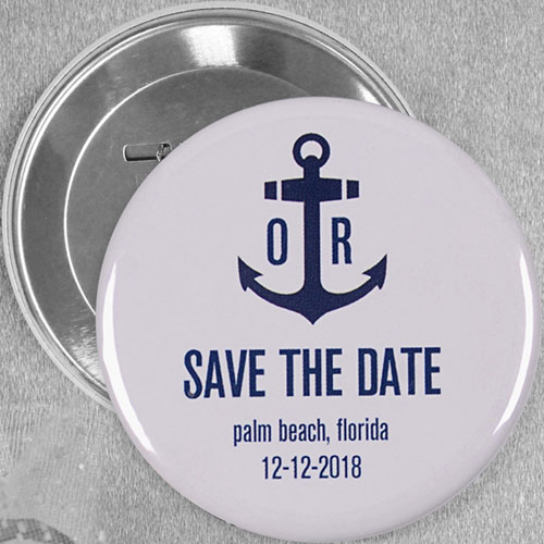 Anchor Nautical Wedding Personalized Button Pin, 3
