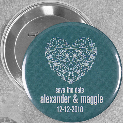 Flower Heart Wedding Personalized Button Pin, 3
