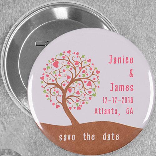 Oak Tree Wedding Favor Custom Button Pin, 3