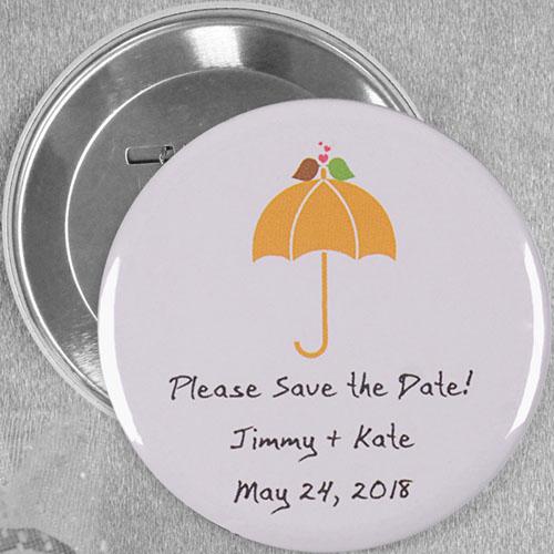 Modern Sweet Love Bird Wedding Custom Button Pin, 3