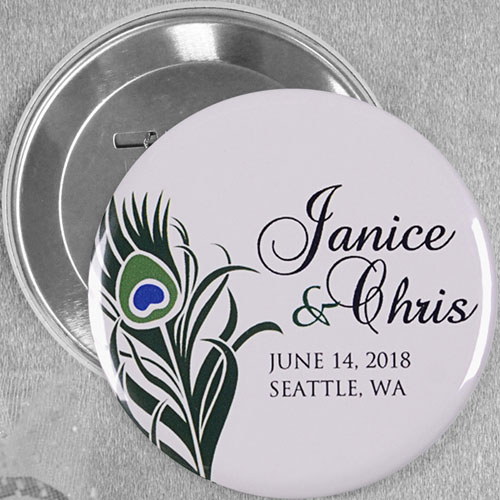 Peacock Feather Save The Date Custom Button Pin, 3