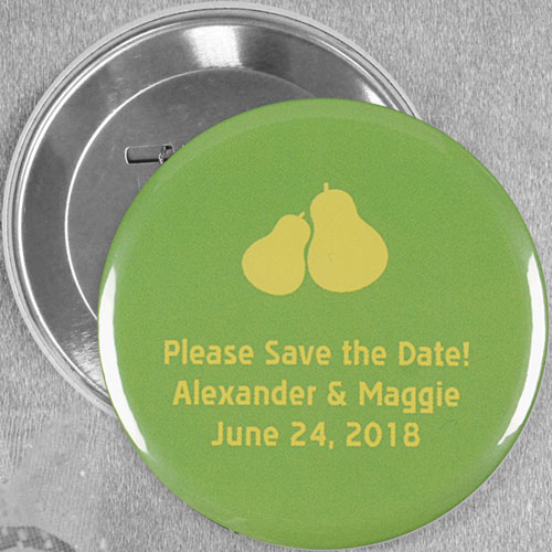 The Perfect Pear Wedding Personalized Button Pin, 3