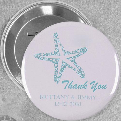 Cream Blue Starfish Wedding Personalized Button Pin, 3