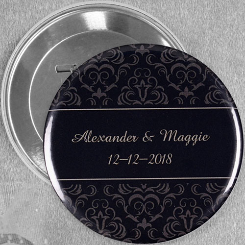 Black Damask Wedding Personalized Button Pin, 3