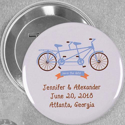 Tandem Bike Wedding Custom Button Pin, 3