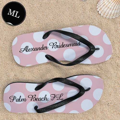 Design My Own Custom Name Light Pink Polka Dot Men Large Flip Flop Sandals