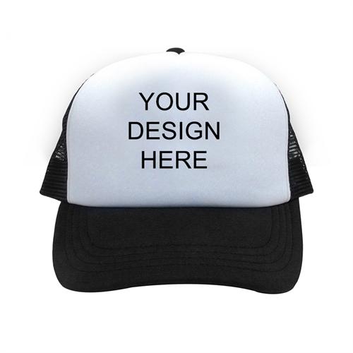 Custom Imprint Full Color Trucker Hat, Black