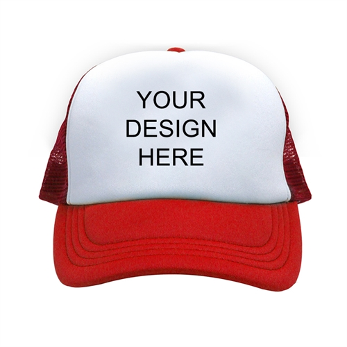 Custom Design Full Color Print Red Trucker Hat 04a01a412ad