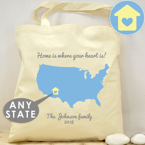 Personalized US Map Wedding Tote - House