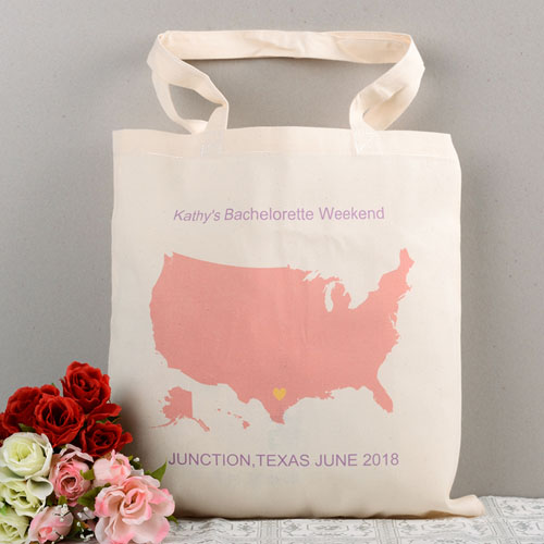 Personalized US Map Wedding Tote - Plane