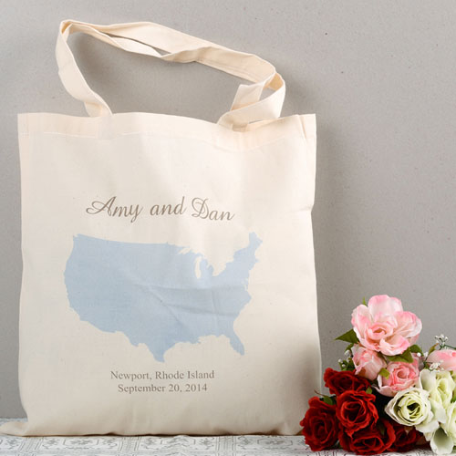 Personalized Us Map Wedding Tote Sunshine Bag