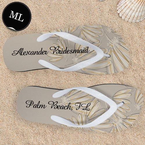 Design My Own Daisies Personalized Wedding Men Large Flip Flop Sandals