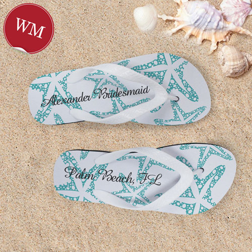 Create My Own Aqua Starfish White Stripes Women Medium Flip Flop Sandals