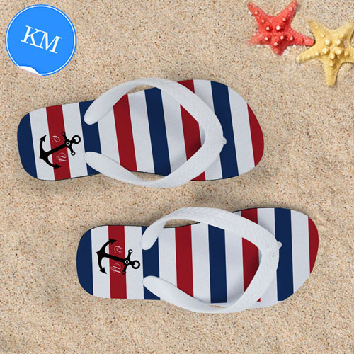 3671ff3a370cf Design My Own Navy Red White Stripes Anchor Kids Medium Flip Flops. View