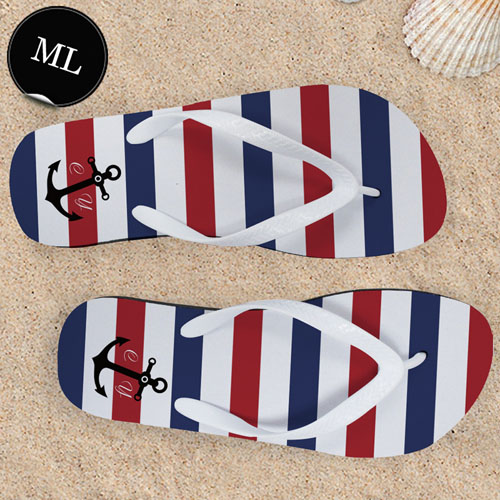 Design My Own Navy Red White Stripes Anchor Men Large Flip Flop Sandals