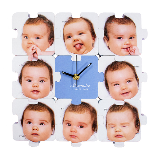 Nine Photos Personalized Puzzle Clock