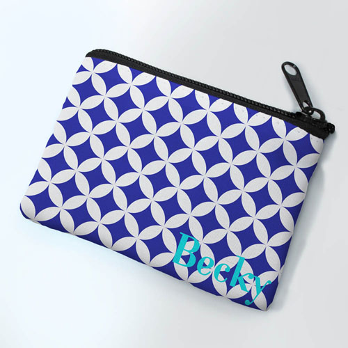 Navy Clover Personalized Coin Purse