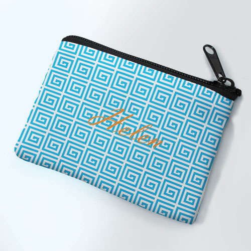 Personalized Blue Greek Key Small Coin Purse (3.5
