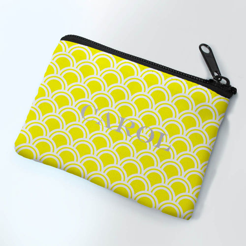 Personalized Yellow Fan Small Coin Purse (3.5
