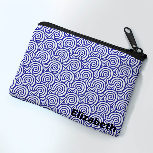 Personalized Navy Swirls Small Coin Purse (3.5