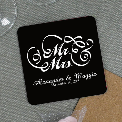 Personalized Mr. And Mrs. Wedding Cork Coaster