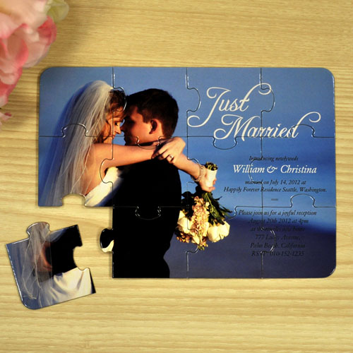 Personalized Just Married Wedding Announcement Invitation Puzzle