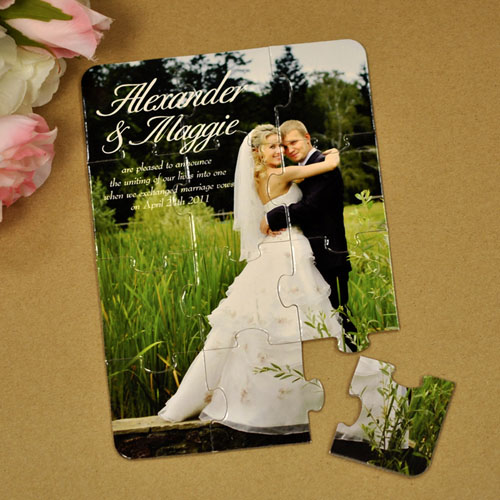 Personalized Eternal Bond Wedding Announcement Puzzle