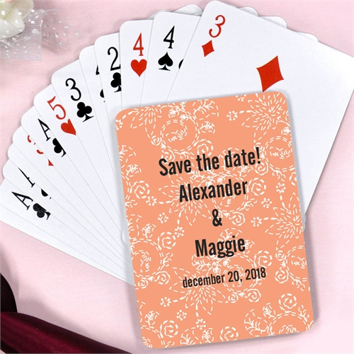 Create Carol Floral Pattern Wedding Personalized Playing Cards