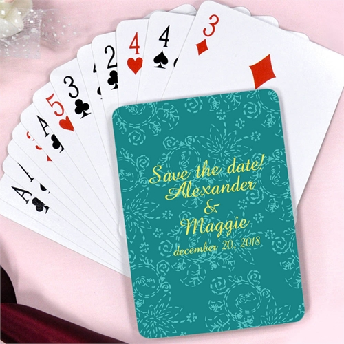 Create Peacock Floral Pattern Wedding Personalized Playing Cards