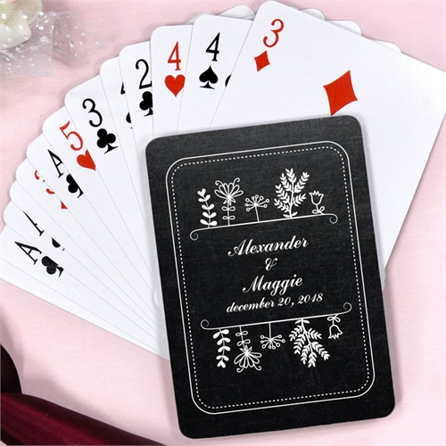 Create Vintage Chalkboard Personalized Engagement Playing Cards