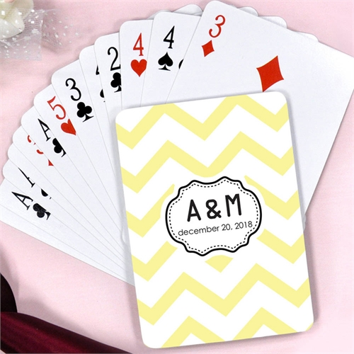 Create Yellow Chevron Personalized Words Playing Cards