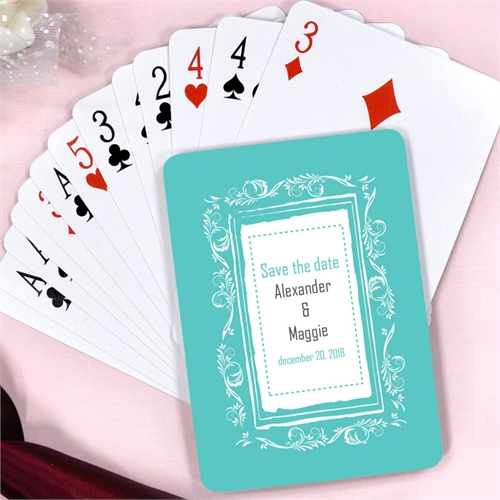 Create Peacock Classic Board Save The Date Personalized Playing Cards