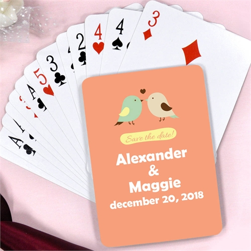 Personalized Marriage Love Birds Playing Cards