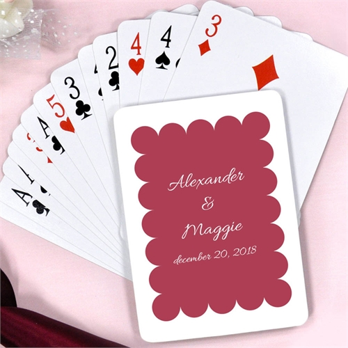 Burgundy Red Personalized Wedding Luxe Square Playing Cards
