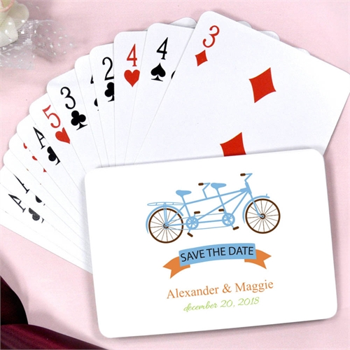 Tandem Bike Personalized Save The Date Playing Cards