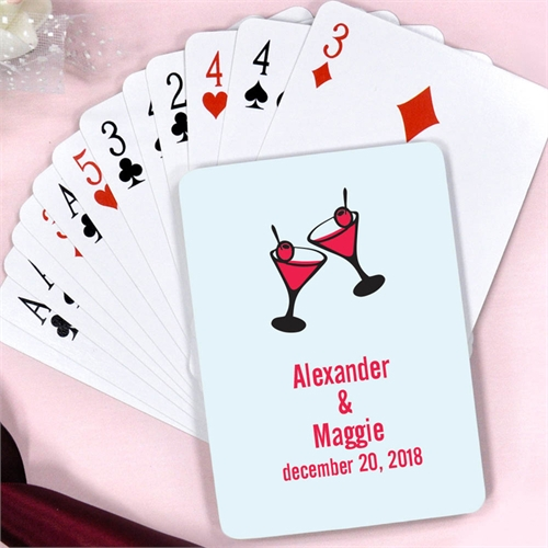 Martini Toasting Flutes Personalized Save The Date Playing Cards