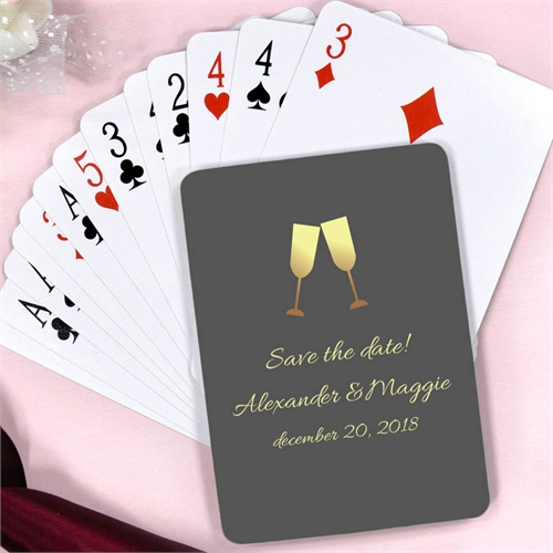 Champagne Toast Personalized Anniversary Party Playing Cards