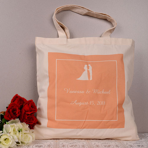 Wedding Couple Personalized Words Tote Bag