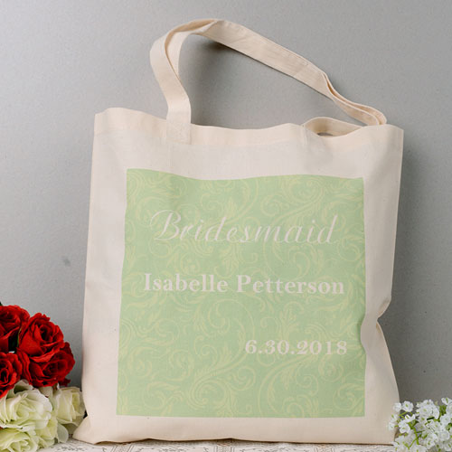 Green Swirl Pattern Wedding Personalized Tote Bag