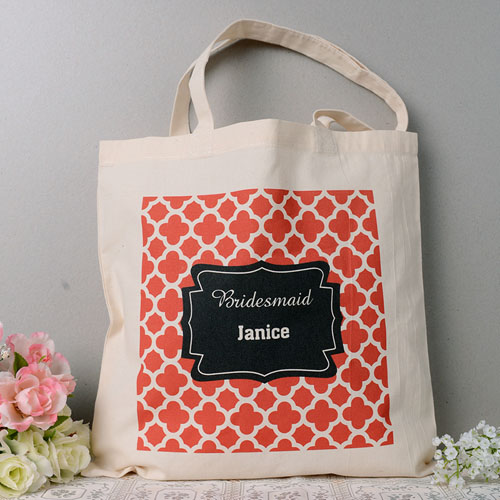 Personalized Red Moroccan Pattern Save The Date Tote Bag