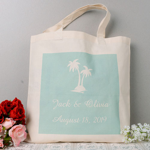 Palm Tree Personalized Wedding Tote Bag