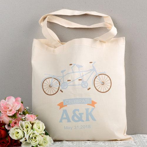 tandem bike personalized wedding tote bag