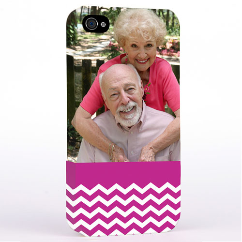 Personalized Hot Pink Chevron Pattern iPhone 4 Hard Case Cover
