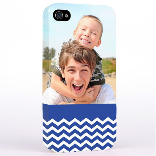 Personalized Blue Chevron Pattern iPhone 4 Hard Case Cover