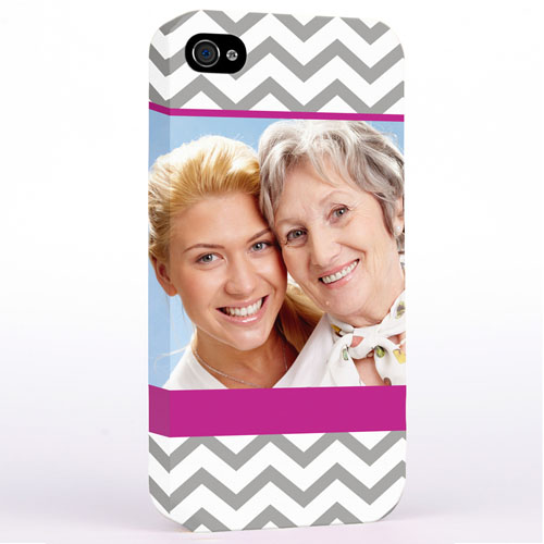 Personalized Grey & Hot Pink Chevron Photo iPhone 4 Hard Case Cover