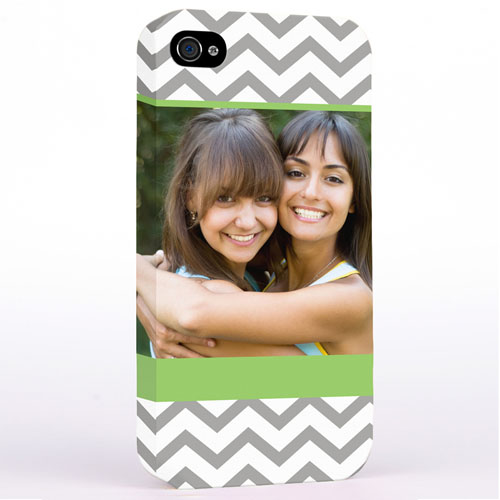 Personalized Lime & Grey Chevron Photo iPhone 4 Hard Case Cover