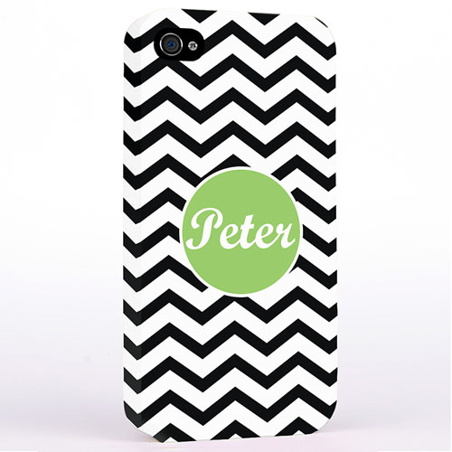 Personalized Black Chevron iPhone 4 Hard Case Cover